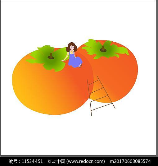 秋天 柿子 女孩 卡通 手绘图片