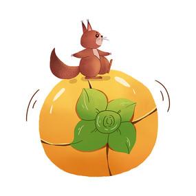 秋天松鼠搬柿子图