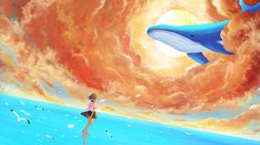 唯美天空治愈系少女与鲸插画背景