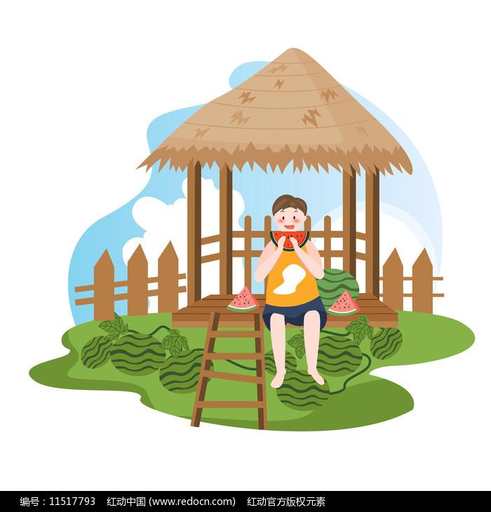 小男孩在茅草屋下吃西瓜图片
