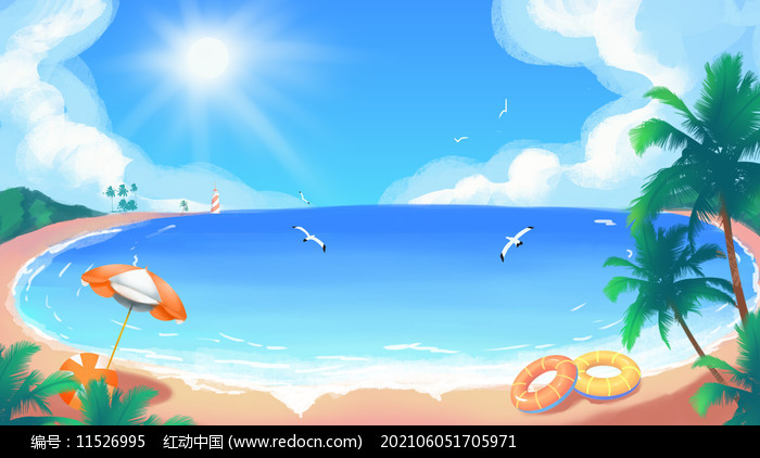 夏天夏季海边沙滩蓝天白云大海风景图片