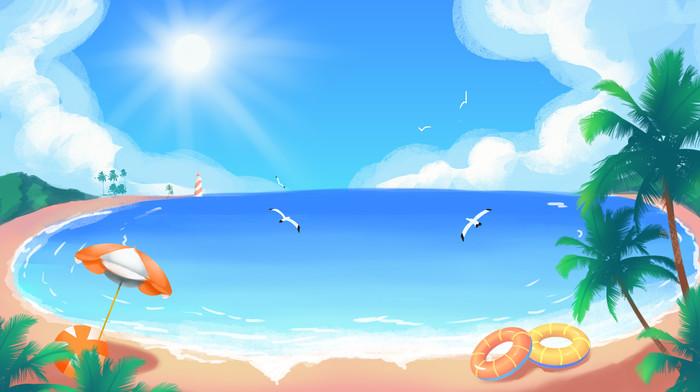 夏天夏季海边沙滩蓝天白云大海风景