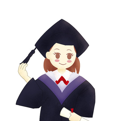毕业季学士服人物