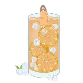橙子冷饮假日饮品人物组合