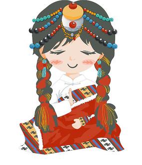 卡通藏族女孩插画小元素AI矢量