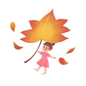 秋天手拿枫叶
