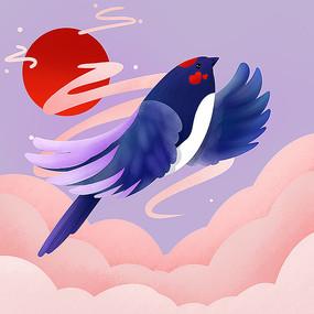 原创喜鹊鸟元素