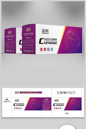 紫色背景打印机硒鼓彩盒设计图