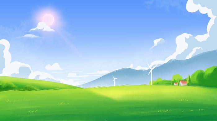 蓝天白云草地阳光夏天风景插画海报背景