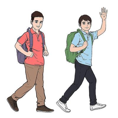 手绘风卡通学生