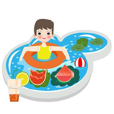 小男孩在水池里游泳