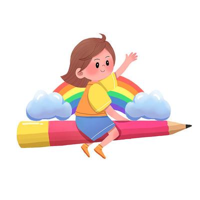 开学季骑着铅笔在天空飞翔