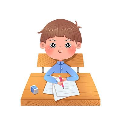 开学季学生坐在课桌前认真记笔记