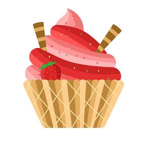 卡通草莓冰淇淋
