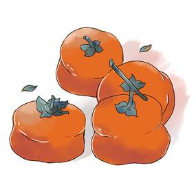 水彩秋日柿子元素