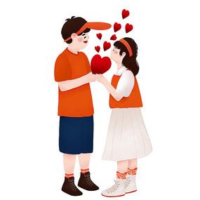 原创爱心恋人情人节元素