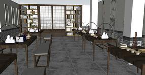 办公室中式桌椅模型