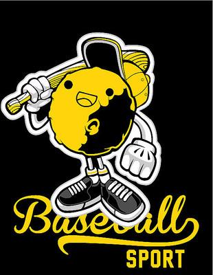 卡通表情打棒球印花T恤图