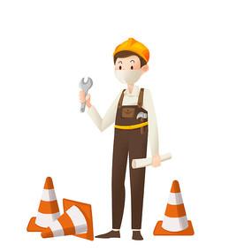 卡通手绘建筑工人设计元素