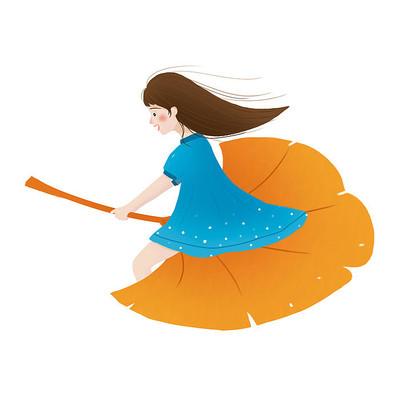 秋天手绘卡通人物女孩
