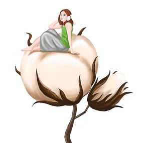 手绘插画风 坐在棉花上的女孩