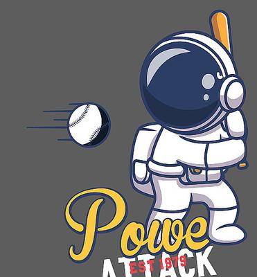 太空人打棒球T恤印花图案