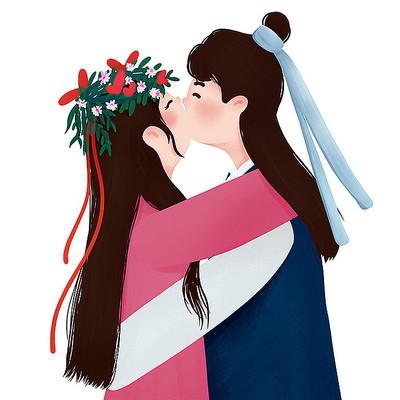 原创拥抱亲嘴恋人情人节元素