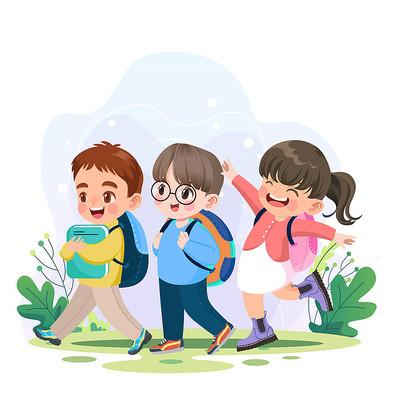 卡通扁平开学季学生返校上学插画png素材