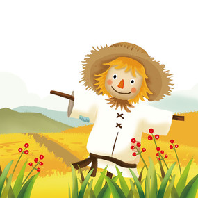 卡通手绘秋天稻草人设计元素