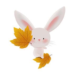 原创小白兔枫叶秋天元素