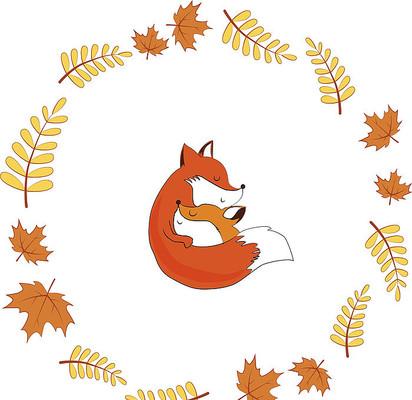 枫叶狐狸拥抱秋季