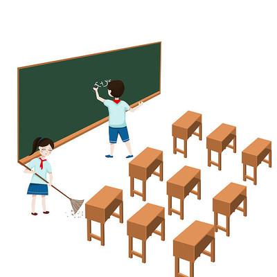 手绘卡通开学季学生打扫卫生