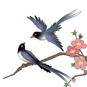 手绘情人节七夕古风喜鹊鸟类