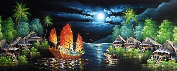纯手绘日出东方西湖帆船夜景圆月油画图