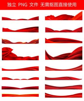 红布红绸布免抠素材