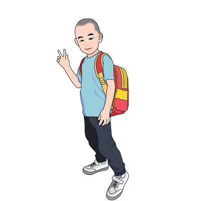 开学季背书包小孩