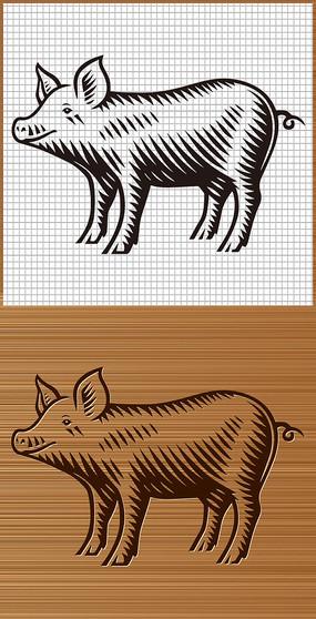 可爱萌猪矢量图案