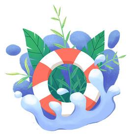 夏天游池游泳圈和植物