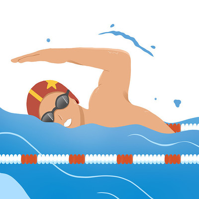 游泳人物元素