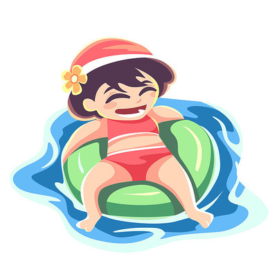 躺在游泳圈上的小女孩插画元素