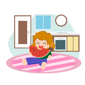 小女孩在客廳吃西瓜