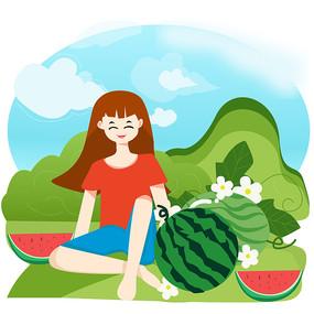原创夏天吃西瓜的小女孩