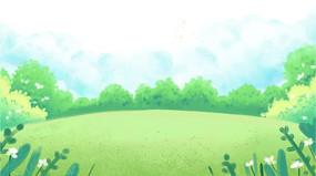卡通手绘草地远景背景设计元素