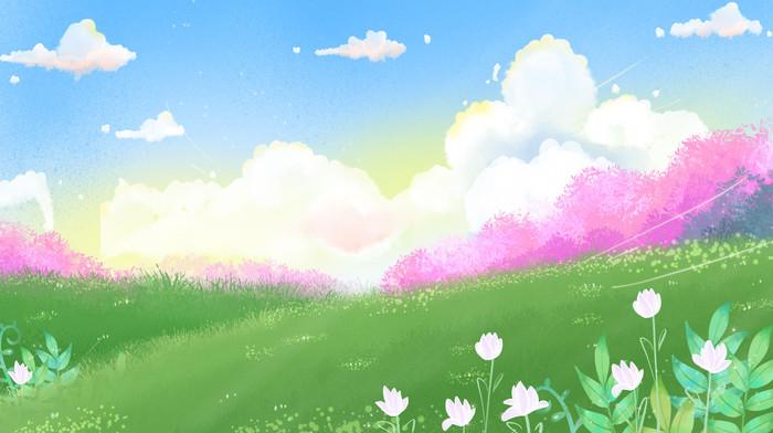 卡通手绘远景草地设计背景