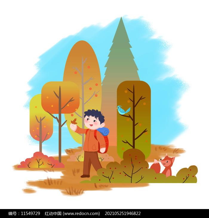 秋季树林秋游男孩图片