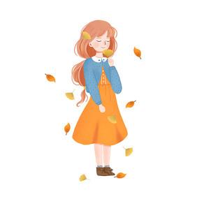 秋天小女孩和秋天树叶组合