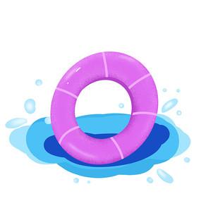 手绘夏天游泳圈