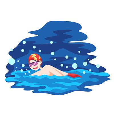 学习游泳的小男孩插画元素