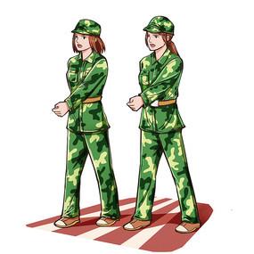开学季军训写实女生走步素材