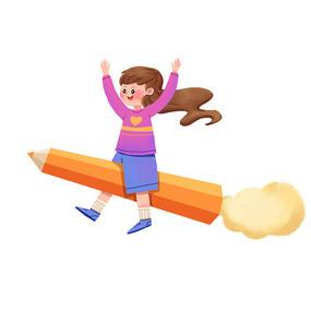可爱女孩开心骑铅笔飞翔图